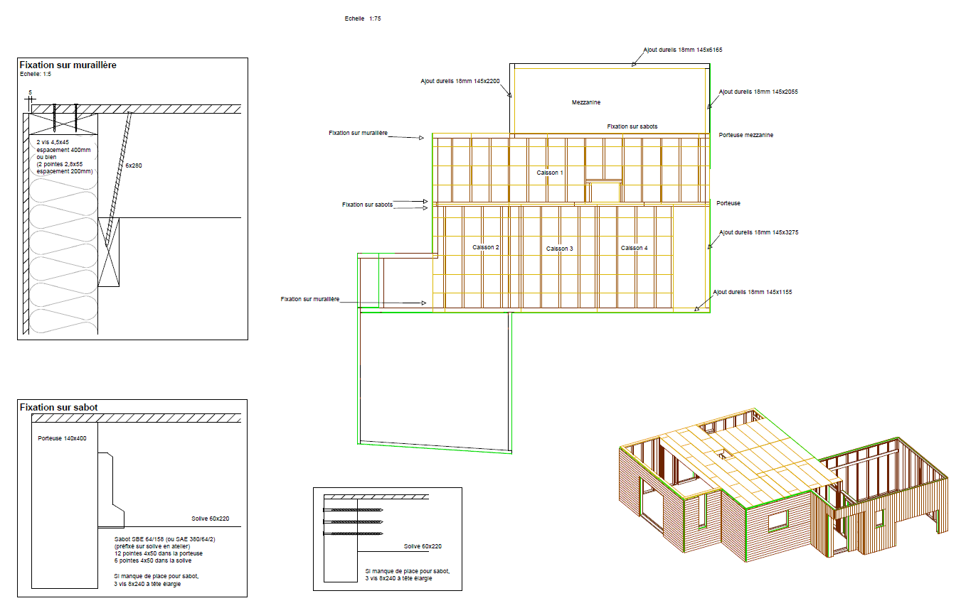 Plans d ex cution structure bois for Plans de maison en bois de hanley