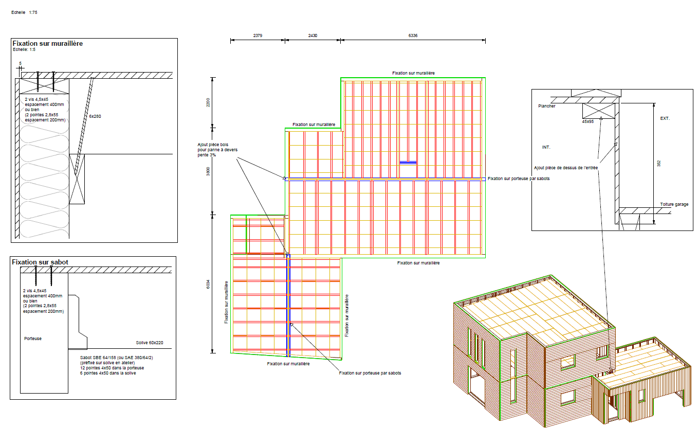 Plans d ex cution structure bois for Plan toiture maison